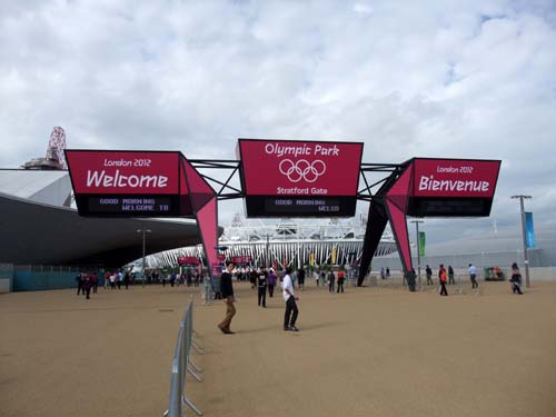 Ingången till olympiska parken
